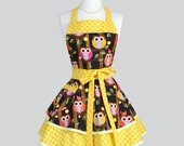 Ruffled Retro Apron - Hooty Hoot Owls with Yellow Polka Dots Whimsical Vintage Style Full Kitchen Apron Personalize or Monogram
