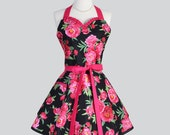 Sweetheart Retro Apron - Raspberry Pink and Black Peony Rose Floral Elegant Full Kitchen Apron