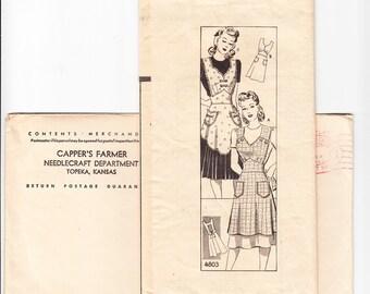 Vintage 1940s Mail Order Capper's Farmer 4803 Sewing Pattern Misses' Apron Size Medium Bust 36-38