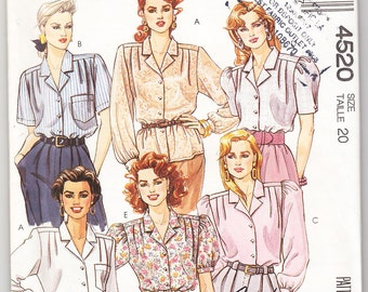 Classic 1989 McCall's 4520 UNCUT Sewing Pattern Misses' Blouses Size 20 Bust 42