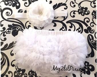 Baby Ruffle Bum Bloomer and Baby Headband, white Bloomer, WHITE headband, Jewel flower headband, newborn photo, cake smash, baptism