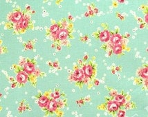 Yuwa Bouquets  on  Green  Cotton Fabric 819958D