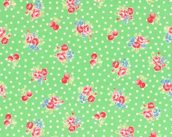 Flower Sugar Fall 2014 Small Roses  Cherry Dots Cotton Fabric  by Lecien 31028-60 Green