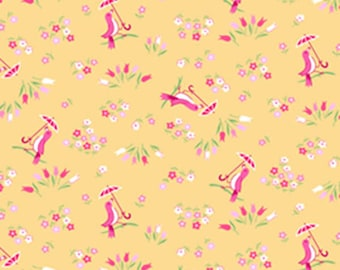 Pam Kitty Garden LH14018APRIC Lakehouse Dry Goods Cotton Fabric Apricot Birds