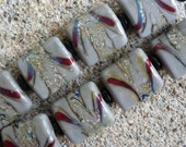 Lampwork Glass Pillow Beads - Fireworks - Pair (2) - SRA