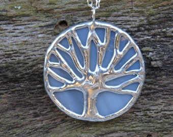 Gray & silver stained glass, Auburn, toomer's oak, tree of life pendant