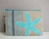 XL zipper POUCH - khaki and pale blue cotton canvas with turquoise starfish applique