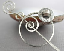 Penannular German silver shawl pin or scarf pin with a cream Swarovski pearl on button