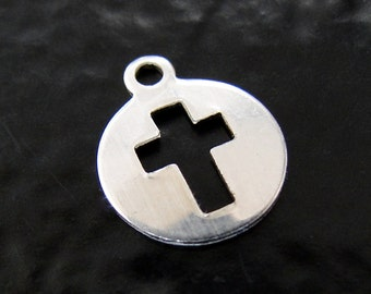 One Sterling Silver Cutout Cross Charms 9x11mm, Made in USA