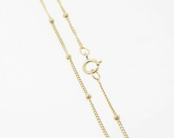 20 Inch - Gold Filled Satellite Chain 1mm w/ 1.9mm Ball Necklace, Lead and Nickel Free