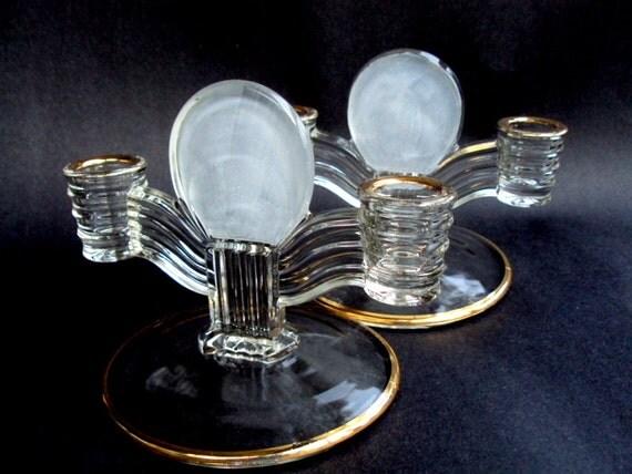 Vintage Glass Art Deco Candle Holder: Vintage Glass Double Candle Holders Art Deco 22K Gold