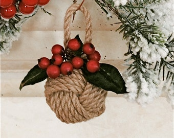 Nautical Rope Knot Ornament with Red Berries - Beach Ornament/Beach Christmas Ornament