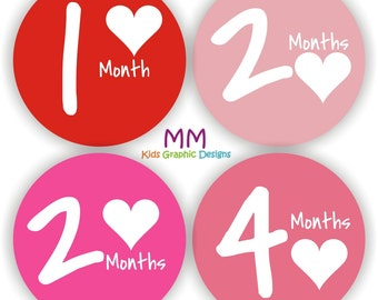 Baby Stickers - Baby Month Stickers - Baby Girl Monthly Stickers - Baby Shower Gift - Cute Baby Month Stickers - Pink Baby Monthly Stickers