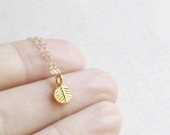 Mini Gold Leaf Necklace | 14kt Gold Filled