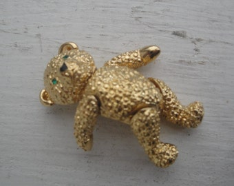 Vintage Teddy Bear Jointed Gold Tone Pin Brooch