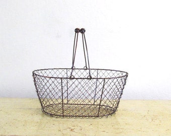 Country Farmhouse Wire Handle  Basket for Crafting, Copper Brushed, Vintage Inspired, Rustic Wedding