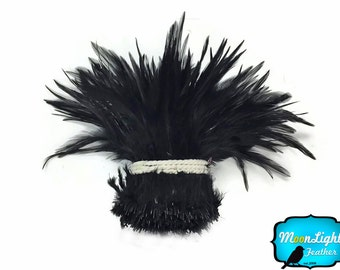 Black Chicken Feathers, 1 Yard - BLACK Strung Chinese Rooster Saddle Wholesale Feathers (bulk) : 3662