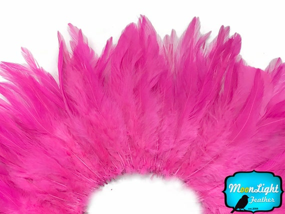 Rooster  Feathers,4 Inch Strip - HOT PINK Strung Chinese Rooster Saddle Feathers : 547