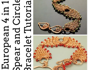 Chainmaille Bracelet and Wire Wrapped Clasp Tutorial - European 4 in 1 Spear and Circle - Expert PDF