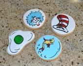 Dr Seuss hand Decorated Sugar Cookies - 1 dozen