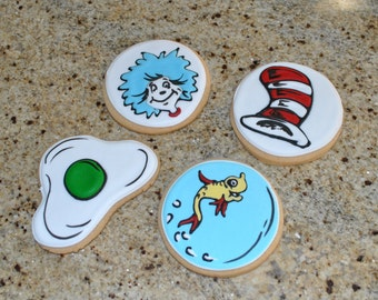 Dr Seuss hand Decorated Sugar Cookies - 1 dozen