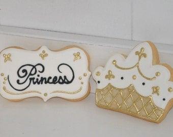 Gold Princess Crown Hand Decorated Sugar Cookies - 1 dozen