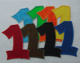 Iron on Number 1 in 8 Color Choices Fabric Embroidered Iron on Applique Patch Made to Order