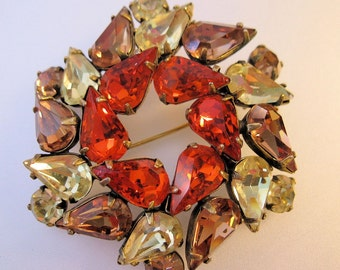 1950s Teardrop Wreath Rhinestone Brooch Orange Yellow Cognac Vintage Costume Jewelry Jewellery