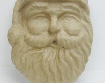 Paper Mache Santa face.  Santa mask, paper mache santa, DIY Santa