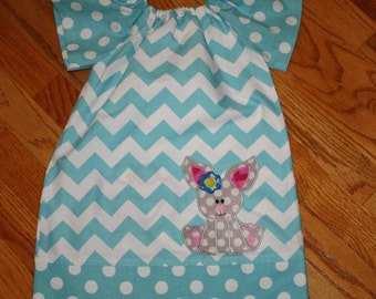 girls Easter peasant dress with Pillowcase dress style blue chevron Easter outfit 12 month, 18 month, 2t, 3t, 4t, toddler girls dresses