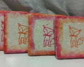 Fun Fox Beverage Coasters (set of 4)