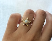 Opal and Diamond Ring, Opal Engagement Ring, 14k Opal Ring, Diamond Star Ring, Unique Engagement Ring, Birthstone Ring, October Birthstone