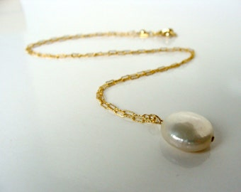 Simple Solitaire White Pearl Necklace Large Genuine Coin