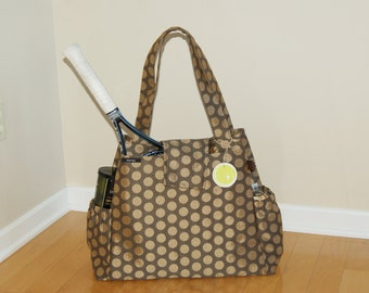 New Large Tennis Bag, Diaper Bag, Travel Bag, Computer Bag or Gym Bag Made from High end Upholstery Fabric..