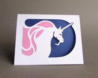 Unicorn Greeting Card Fantasy Silhouette Cut Paper Art Blue and Pink