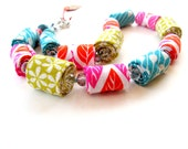 Summer colorful fabric necklace, bright colorful fabric necklace, statement vibrant fiber necklace
