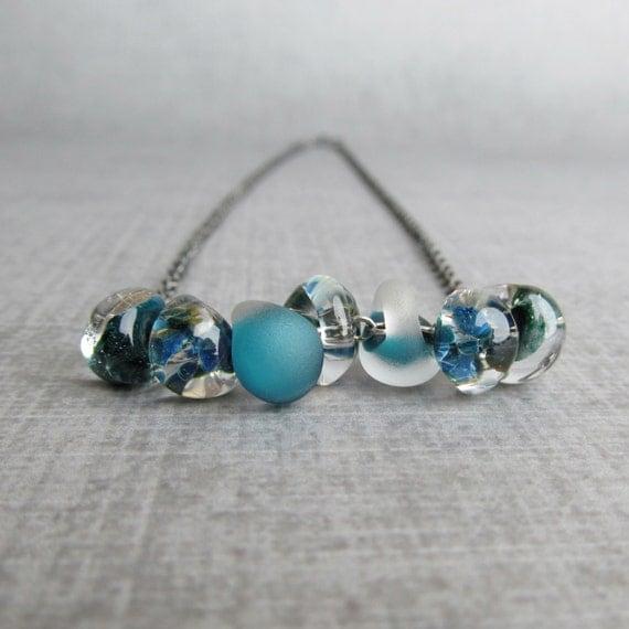 Teal Blue Teardrop Necklace, Aqua Blue Lampwork Necklace, Blue Necklace, Oxidized Silver Handmade Necklace