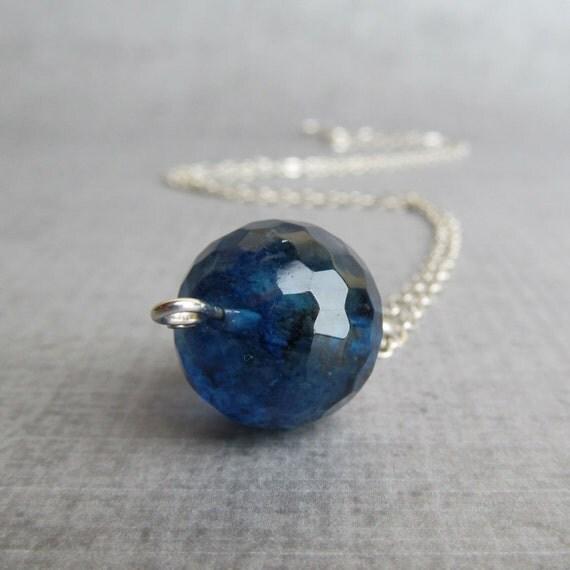 Blue Quartz Necklace, Blue Pendant Necklace, Blue Necklace, Droplet Necklace, Argentium Necklace, Silver Necklace, Argentium Silver