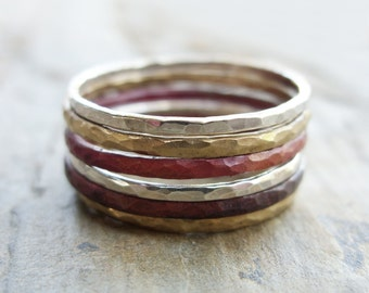 Mixed Metals Stacking Rings in Sterling Silver, Fire Stained Copper, and Brass or Gold Fill - Set of Six Thin Hammered Stackers