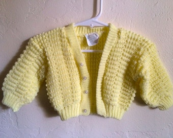 Vintage Baby Girl 70's Cardigan Sweater, Long Sleeve, Yellow (0-3mos)
