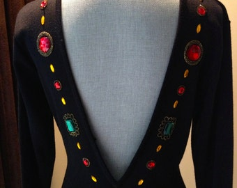 Vintage Jeweled  Beaded Open Back  Black Dress