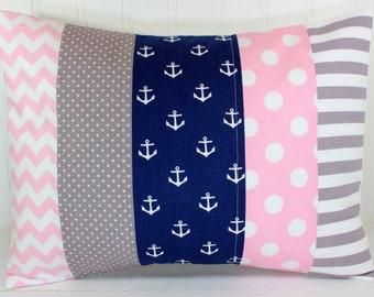 Nursery Pillow Cover, Throw Pillow Cover, Anchor Nursery Decor, Baby Pink, Navy Blue, Gray, Anchors Nursery Decor Nautical, 12 x 16 Inches