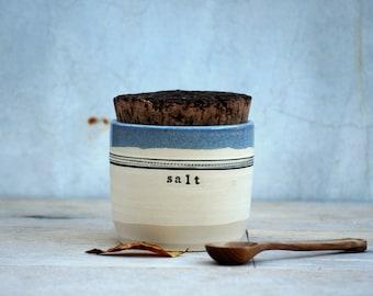 Salt jar with cork lid ceramic canister handmade pottery