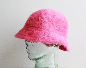Fuzzy Deadstock Angora Rabbit Wool Bucket Hat in Fuschia Hot Pink O/S 90's Clueless Rave Kawaii Fluffy Clubwear