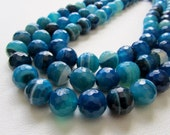 Blue and White Banded Agate Disco Ball Faceted Rounds Half Strand