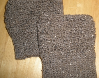Plus Size Boot Cuffs - Hand Crochet - Brown Tweed