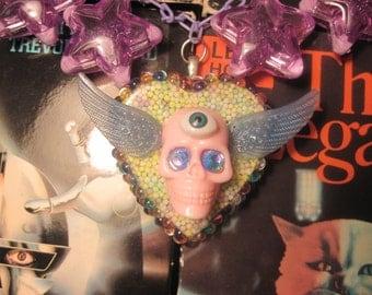Kawaii Candy Winged Eye Skull Pastel Rhinestone Encrusted Statement Necklace