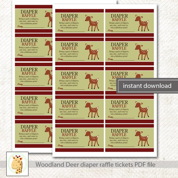 Nature Themed Baby Shower: Woodland Deer Nature Theme Baby Shower Boy Diaper Raffle
