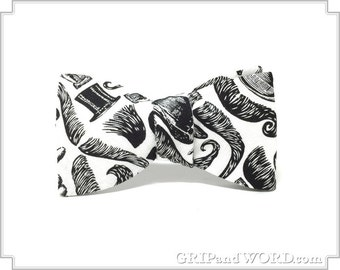 Moustaches, Top Hats and Bowler Hats Freestyle Bow Tie