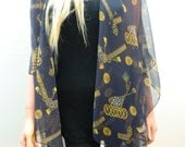 Dark Navy Kimono cardiganAntique gold yellow tassels and jewels chiffon-Layering piece-FREE SHIPPING